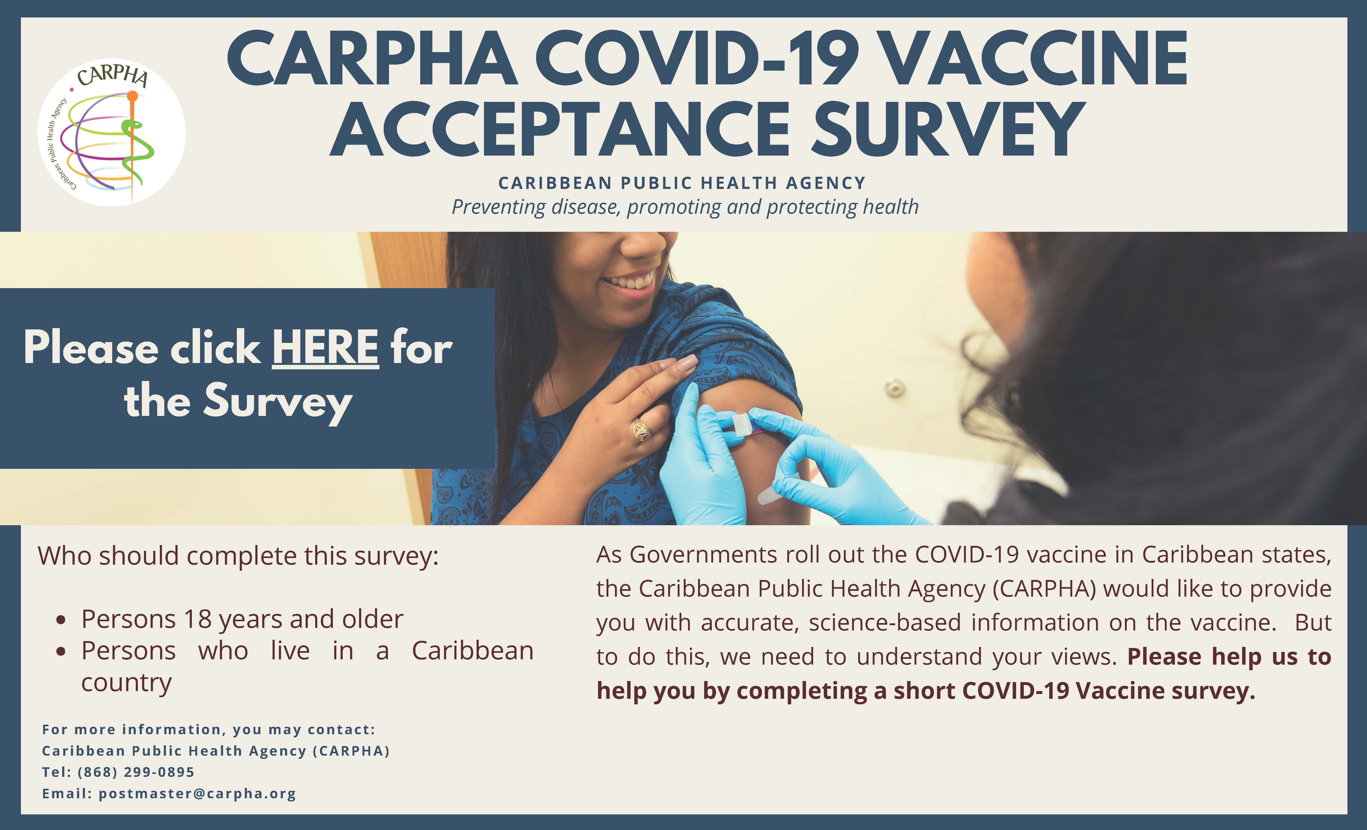CARPHA Launches COVID-19 Vaccine Acceptance Survey